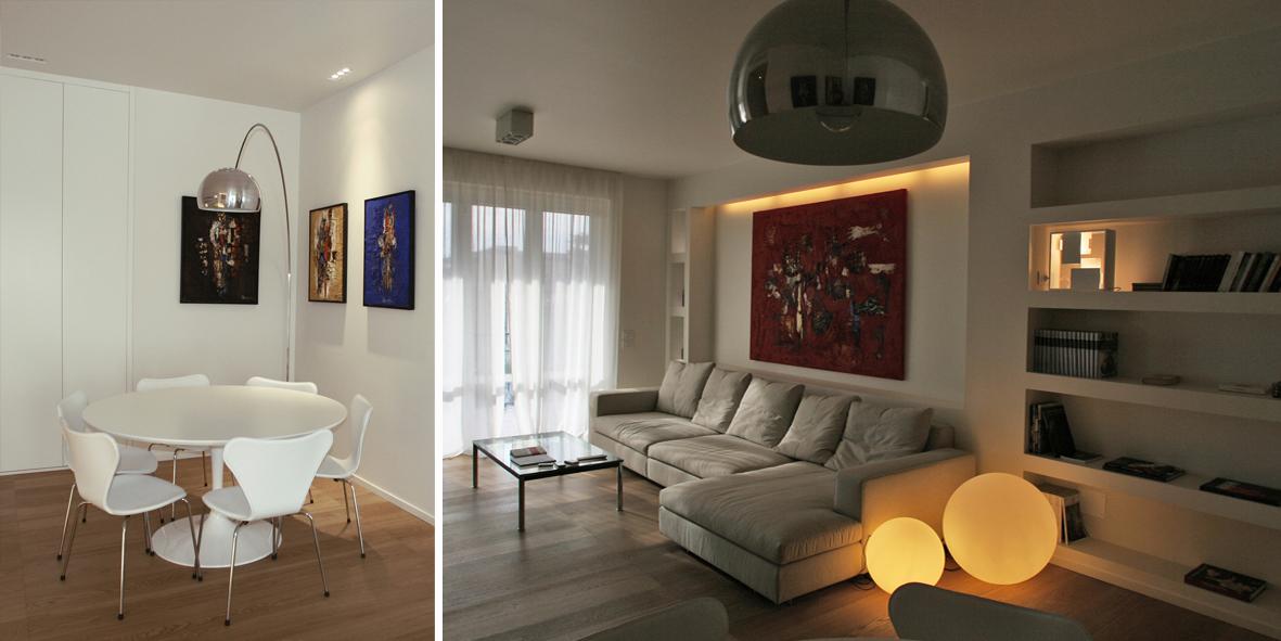 gli ambienti utilizzato con finitura a smalto nel living cucina bagni e per tutte le porte rasomuro come normale pittura lavabile nelle camere